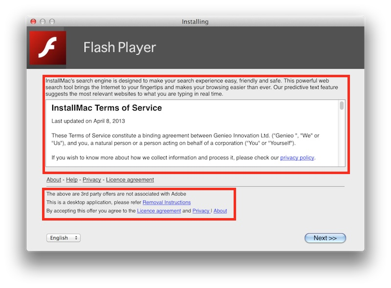 Very Fake Adobe Flash installer.