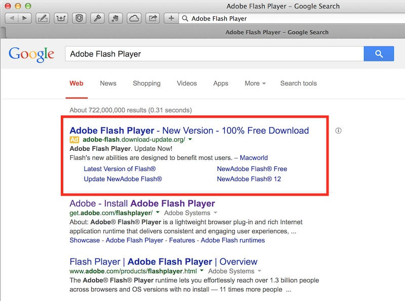 Search results for Fake Adobe Flash Player Website